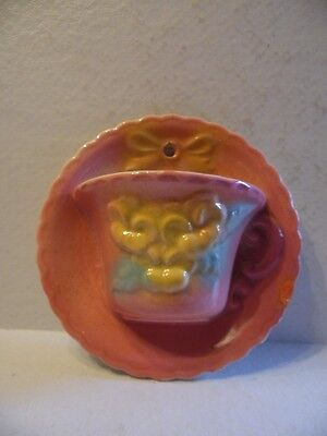 Vintage Hull Art Pottery Pink W/ Yellow Flowers& Bow Sunglow Tea Cup Wall Pocket