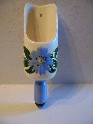 Vintage Blue Floral Scoop Spoon Ceramic Wall Pocket