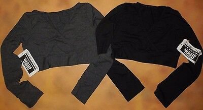 NWT Main Street Long Sleeve Mock Wrap Crop Top Black or Charcoal Adlt/Chld 93504