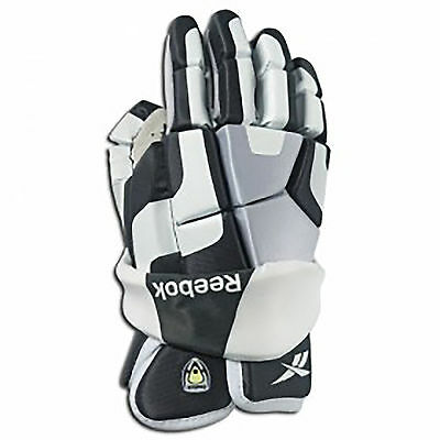 "NEW Reebok 3K Senior Lacrosse Gloves 12"" LAX Gloves White/Grey/Black"