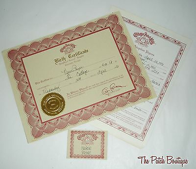Cabbage Patch Kids Soft Sculpture Garnet Ed Cpb Doll Birth Certificate & Tag Lot