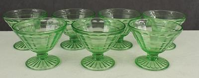 Vintage Lot 7PC Green Depression Glass Block Optic Footed Sherbet Dishes