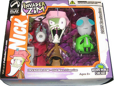 Invader Zim & Gir Figures - Old Man & Doggie Suit Disguise - Palisades Set