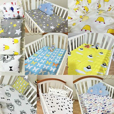 Newborn Baby Boy Girls Crib Fitted sheets Cotton Comfort Cartoon Cot Bed Sheets