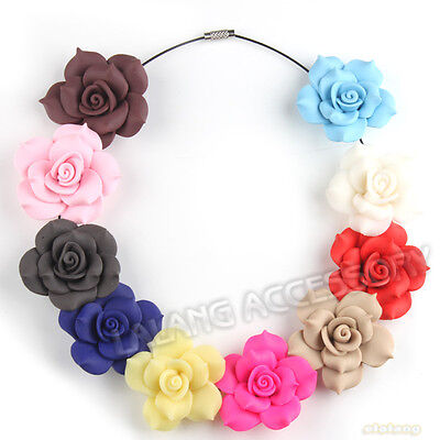 12pcs New Random Mixed Color Tip Roses Fimo Polymer Clay Beads Findings 40mm L