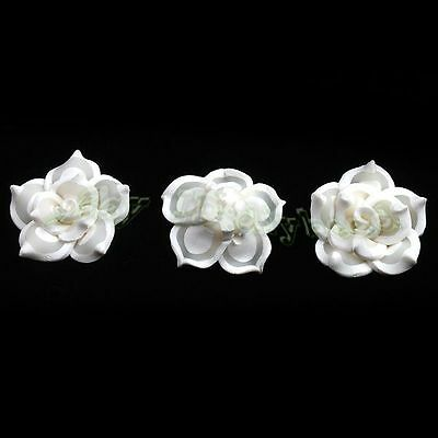 30pcs New White Color Charms Flower Polymer Clay Fimo Beads Fit Jewelry Making L