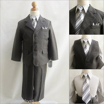Well tailored 5 pc Charcoal/Dark grey boy wedding formal party suit all sizes