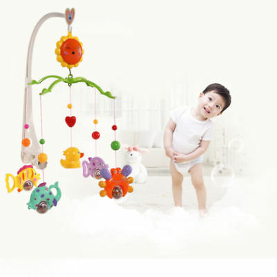 6Pcs Set Baby Kids Crib Mobile Bed Bell Holder Toy Arm Bracket Wind-up Music Box