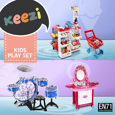Kids Wooden Pretend Play Kitchen Set Toy Toddlers Market Home Children Tool
