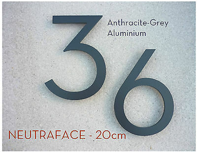 NEUTRAFACE Anthracite Aluminium House Number PAIR - 20cm -  FAST, FREE DELIVERY