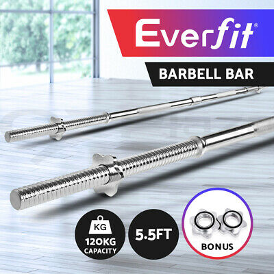 Everfit 5.5FT Barbell Bar Fitness Exercise Weight Bench Press Gym Home 168CM