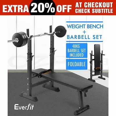 Adjustable Weight Bench + Barbell Set Fitness Gym Flat Press Incline Squat Rack