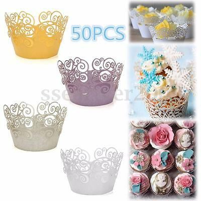 50Pcs Cake Paper Cup Baking Cup Hollow Out Wrapper Cupcake Wedding Party Supply