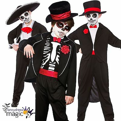 Boys Halloween Fancy Dress Day Of The Dead Skeleton Costume Outfit Skull Mexican