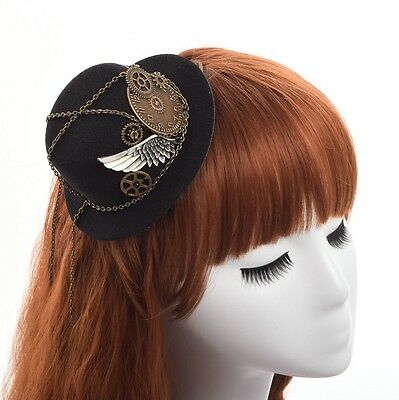 Retro Women Hairclip Steampunk Mini Top Hat Goth Geer Wing Chain Girl Head Wear