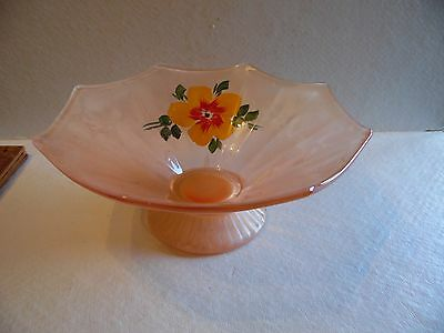 Frosted Pink Depression Glass Footed Bowl Hand Painted Floral