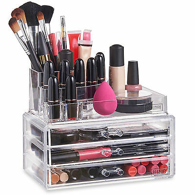 Beautify Clear Acrylic 3 Drawers Cosmetic Makeup Storage Display Table Organiser