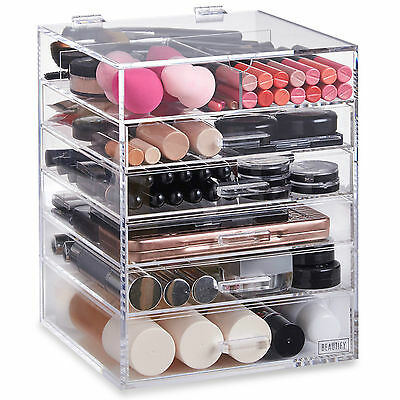 Beautify Acrylic Make Up Organiser 6 Tier Clear Cosmetic Storage Box Case Drawer