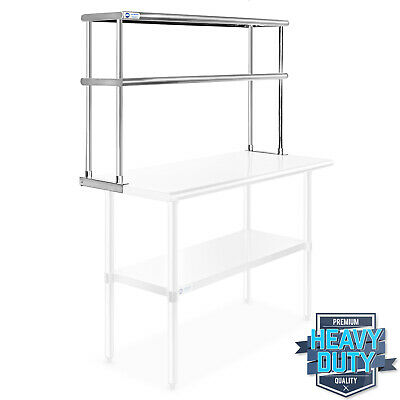 "Stainless Steel Commercial Kitchen Prep Table Wide Double Overshelf - 12"" x 48"""