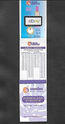 Hawaiian Airlines 11/1/96 Inter-Island Pocket Timetable Island Shuttle