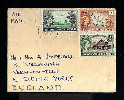 10237-BRITISH SOLOMON ISLANDS-AIRMAIL COVER HONIARA to YORKS (england) 1964.