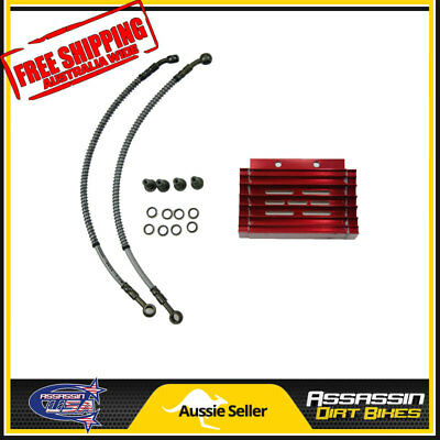 Red CNC oil cooler kit Radiator 140cc 150cc 160cc PIT PRO Trail Dirt Quad Bike A