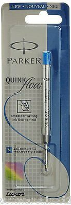 3x Parker Quink Flow Ball Pen Refill (Blue Ink,Medium Point) Brand New Sealed