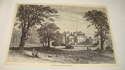 1886 magazine engraving ~ HAWARDEN CASTLE FROM THE PARK, UK