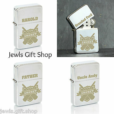 cricket sports themed personalised lighter Fathers day Birthday gift add Name