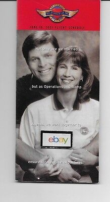 Southwest Airlines System Timetable 6-10-2001 Fred & Kim Muller Cover