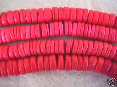Pink Glam Coral 8mm Coin Disk Rondelle Wood Beads 40PC