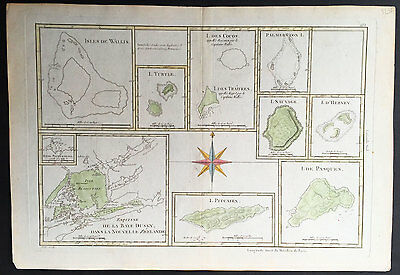 1780 Bonne Antique Map of South Pacific Islands Dusky Bay, Pitcairn, Easter Isle