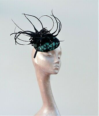 Emerald Green & Navy Lace Button Fascinator With Feature Feathers No Return