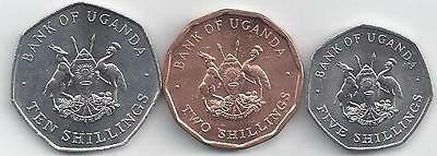 3 UNC. COINS from UGANDA - 2, 5 & 10 SHILLINGS (ALL 1987).