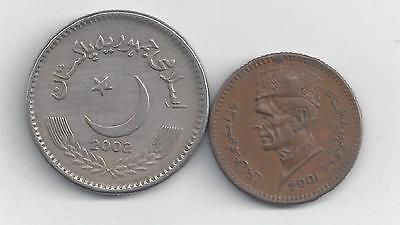 2 DIFFERENT COINS from PAKISTAN - 1 & 5 RUPEE (BOTH 2002)