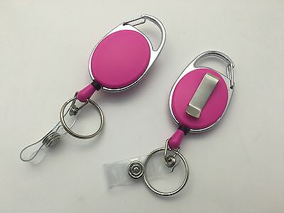 Pink Solid Key Reel with Keyring & ID Card Badge Holder -Ring Retractable Colour
