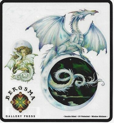 TOUCH THE MOON Dragon & Fairy Sticker Set of 3 Stickers Car Decals Jody Bergsma