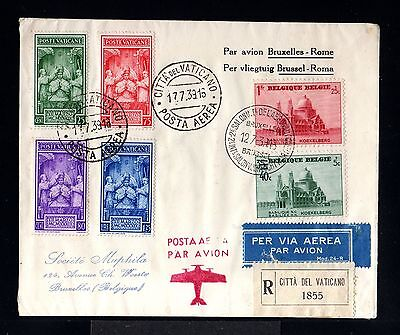 10263-VATICANO-AIRMAIL REGISTERED COVER CITTA V.to BRUSSELS (belgium)1939.WWII.