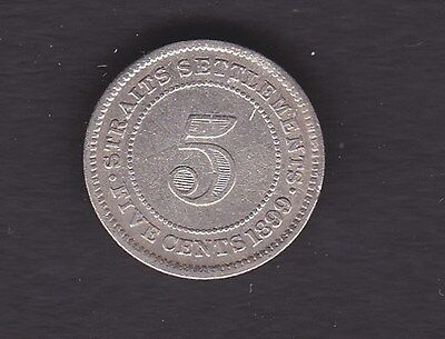 Straits Settlements 1899 5 cent Coin v/f plus