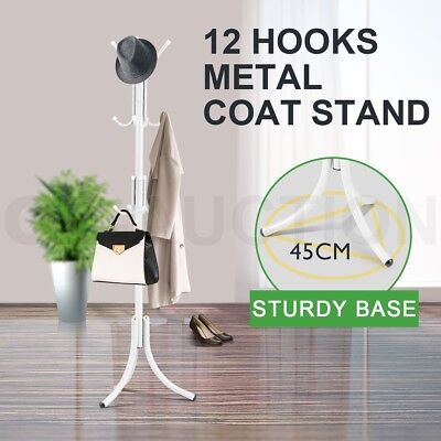Metal 12 Hooks Coat Stand Hat Bag Clothes Umbrella Rack White