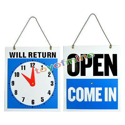 OPEN CLOSED Sign / WILL RETURN + CLOCK : Business Hours Shop Store Door Decor