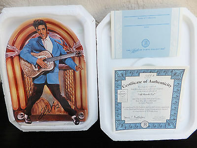 "Bradford Exchange Elvis Plate ""All Shook Up"" 1999 Limited Edition Porcelain MIB"