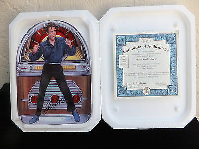 "Bradford Exchange Elvis Plate ""Blue Suede Shoes""  1999 Limited Edition  MIB"