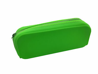Neon Green Silicon Pencil Case - Wedge Shape Office School Make Up Bag