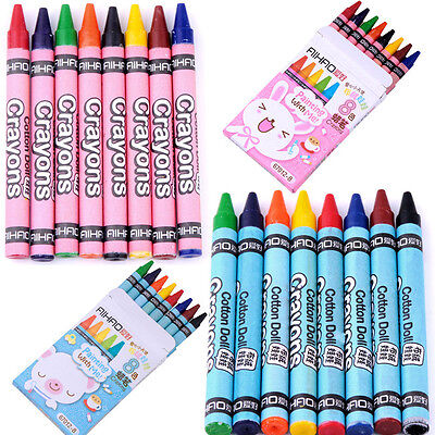 8 Colours/Set No-Toxic Wax Crayons Children Kids Colorful Painting Stick Present