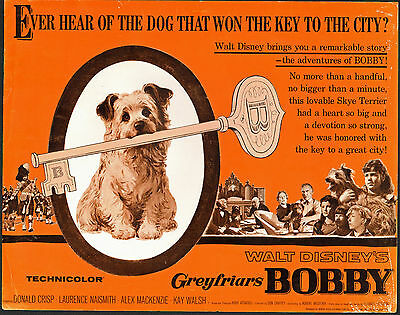 GREYFRIARS BOBBY/SKYE TERRIER original 1961 DISNEY movie poster