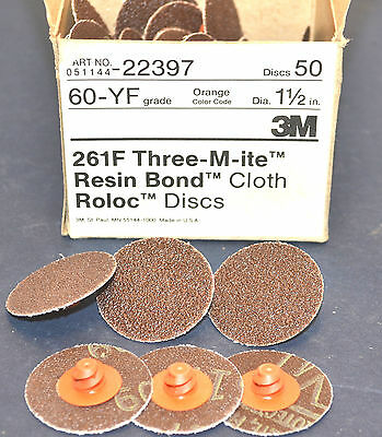 "50 NEW 3M THREE-M-ITE 1-1/2"" ROLOC 60 grit DISC 261F Grinding Discs #WL7.4.2"