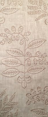 VAUGHAN Tinos linen embroidery natural taupe new remnant