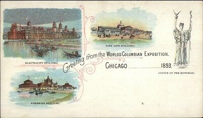 1893 World's Columbian Exposition Tri-View Electric/Arts/Fisheries Postal myn