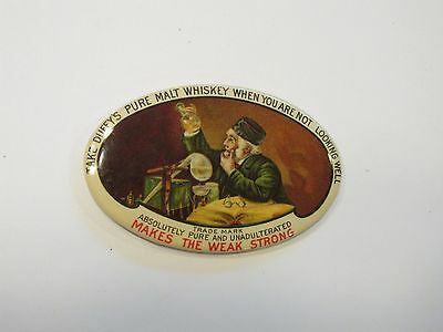 "2-3/4"" Duffys Pure Malt Whiskey Advertisement Pocket Mirror very colorful"